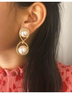 Vintage boucles d'oreilles alliage de zinc doré