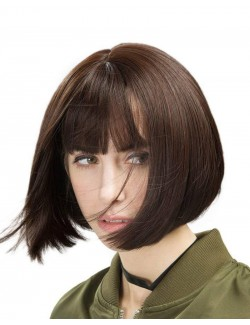 Brown synthetic straight short wig