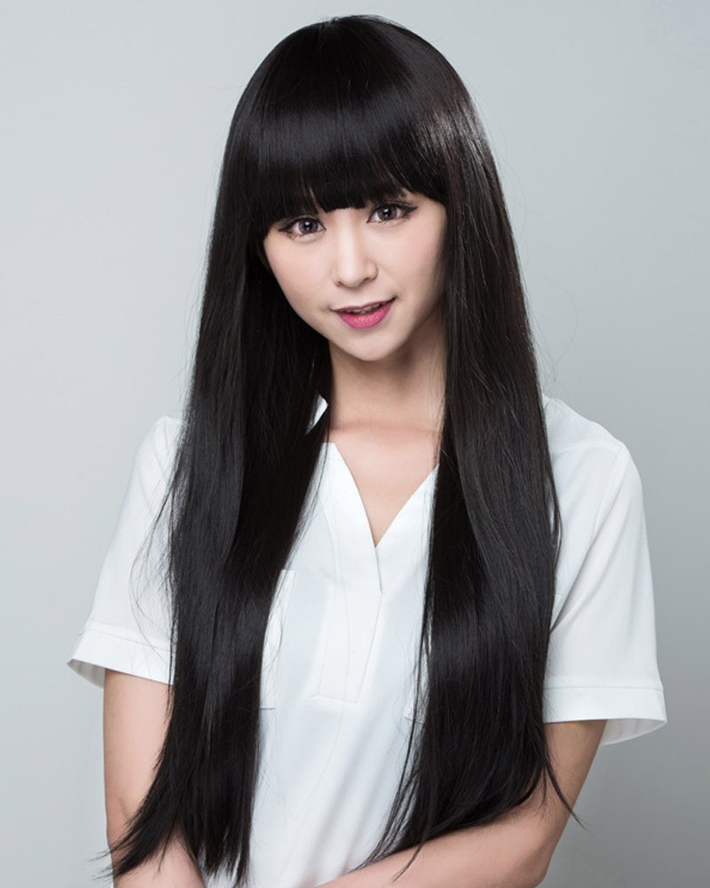 Straight long black wig synthetic