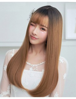 Gradient color straight long synthetic wig