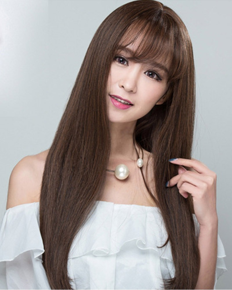 Dark brown straight long synthetic wig