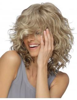 Perruque blonde courte bouclée fibres synthétiques