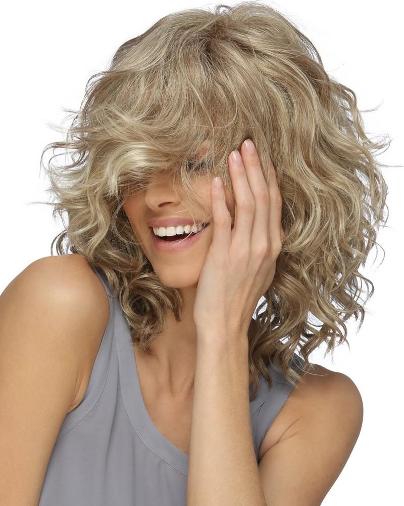 Golden curly short wig fiber synthetic