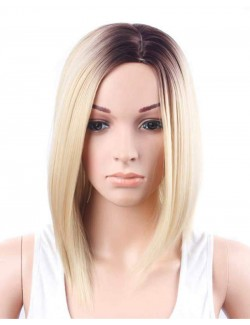 Gradient color straight half length synthetic wig