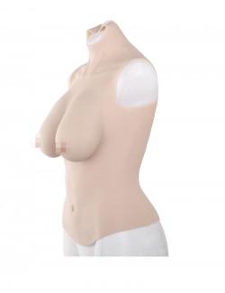 D-Cup Medium Skin Crop Top Silicone Breastplate