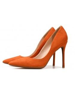 Escarpins talon daim orange talon 100 mm