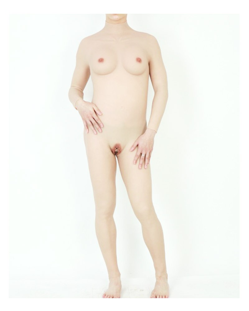 C cup size body suit silicone breast vagina all in one