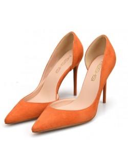 Plus size orange suede heeled shoes