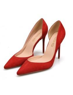 Cherry red suede heel pumps