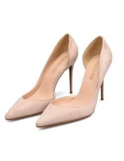 Nude suede heel pumps wide width heels