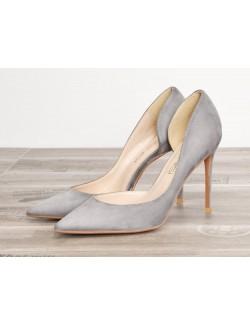 Grey suede stiletto shoe wide width heels