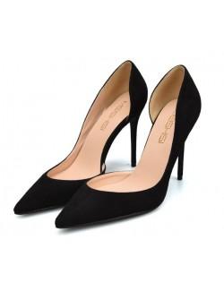 Black suede stiletto shoe wide width heels
