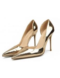 Patent gold heels pumps wide width heels