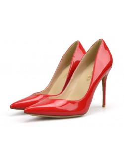 Cherry red V cut heel pumps
