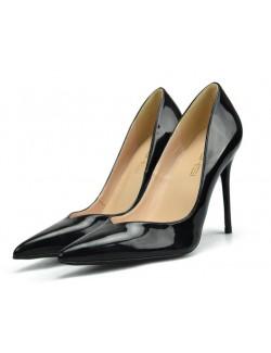 Black V cut sexy pointy toe heel pumps