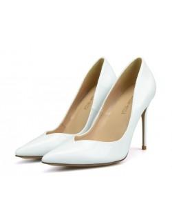 V cut sexy pointy toe white heel pumps