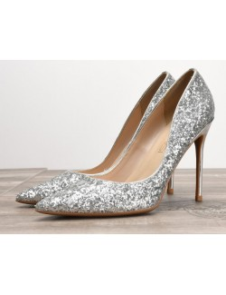 Silver sparkly shoes heels plus size