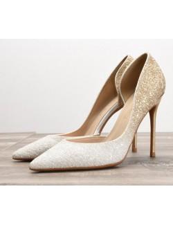 Sexy chaussures à talons hauts dégradé blanc doré