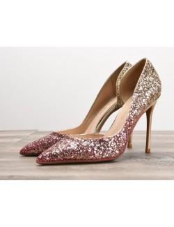 Sexy chaussures à talons hauts violet or dégradé