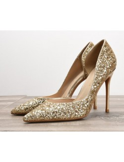 Sandales scintillantes dorées escarpins à talons