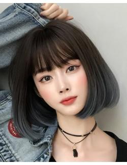 Dark brown synthetic straight short wig 20 cm