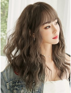 Long synthetic wig with fringe