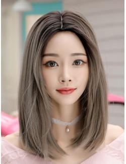 Perruque droite brun clair longueur moyenne