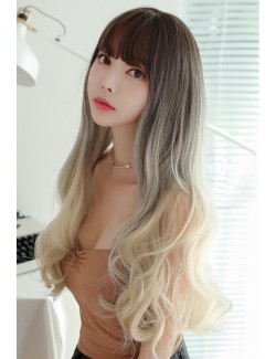 Brown to blonde Long curly wigs bangs