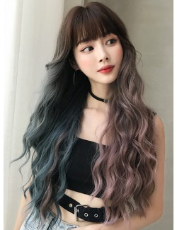 2 colors long curly wigs bangs