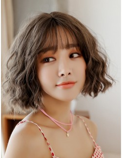 Curly wig synthetic short wig with bangs