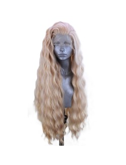 Curly blonde lace front long wigs