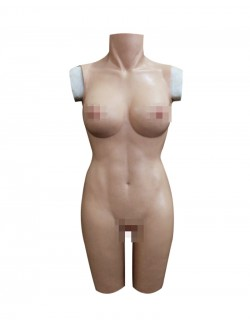 Thin female Body Suit Silicone Breast plate Vagina Naked