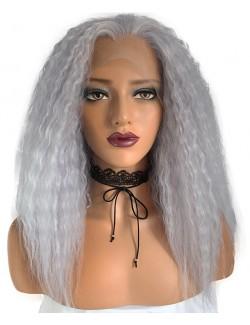 Perruque grise mi-long bouclée dentelle devant