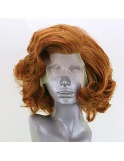 Perruque courte bouclée cheveux blonds dentelle devant
