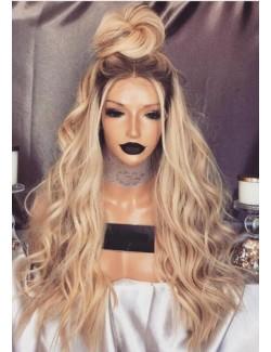 Perruque blonde ondulée dentelle devant