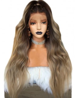 Blonde brown wavy curly long wig lace front
