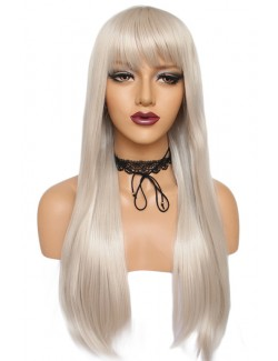 Long straight light golden wig with bangs