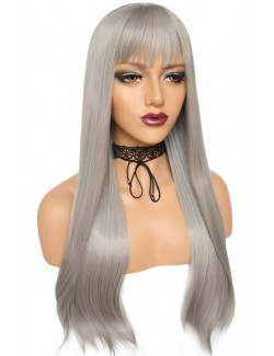 Long gray straight wig with bangs