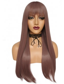 Straight long pinkish-brown synthetic wig