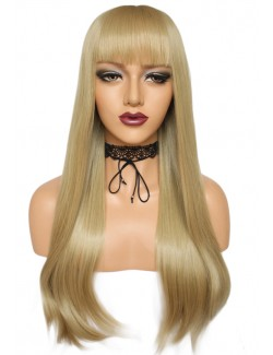 Long straight blonde wigs with bangs