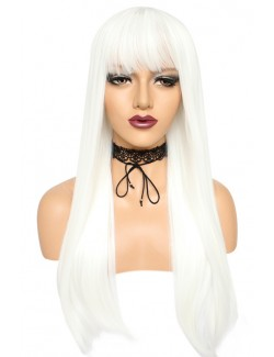 Long straight white synthetic wig