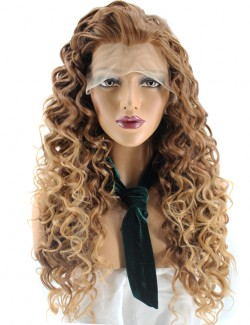 Curly honey blonde lace front wig