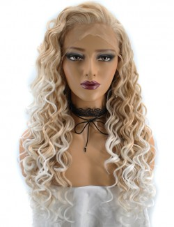 Curly ombre blonde synthetic lace front wig