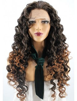 Curly ombre brown synthetic lace front wig