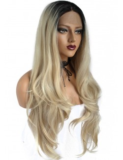 Brown to blonde long lace wig
