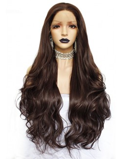 Brown synthetic lace front wig