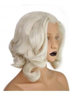 Perruque courte bouclée blonde claire dentelle devant