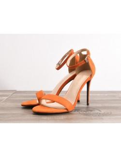 Orange suede stiletto sandal ankle strap