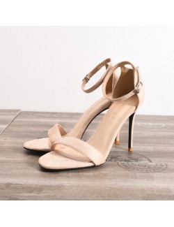 Nude stiletto sandal ankle strap suede