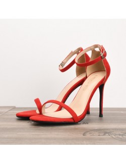 Red stiletto sandal ankle strap suede